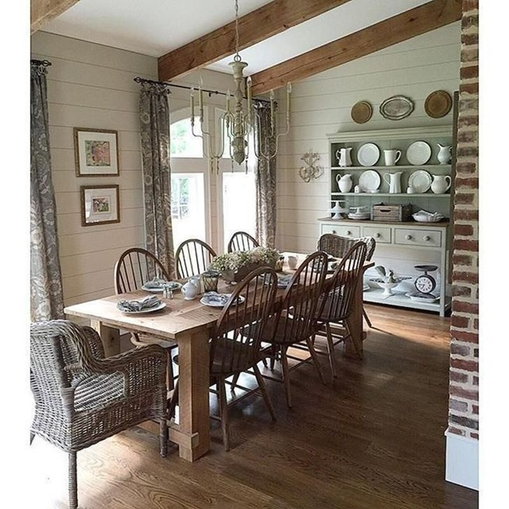 99 Romantic Rustic Farmhouse Dining Room Makeover Ideas ...