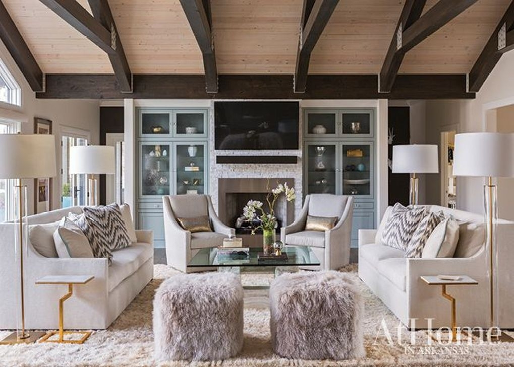 Amazing Living Rooms Design Ideas With Exposed Wooden Beams 45