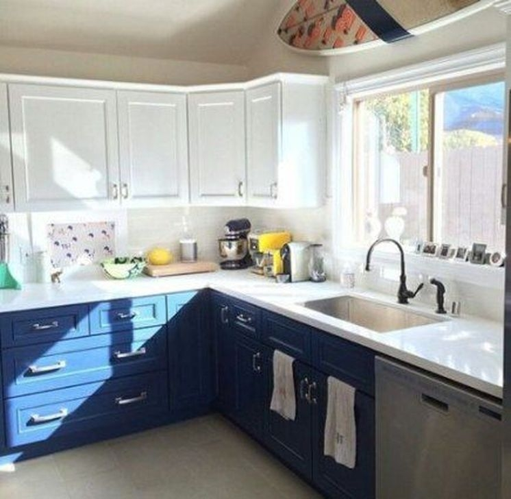 Fancy Painted Kitchen Cabinets Design Ideas With Two Tone 17