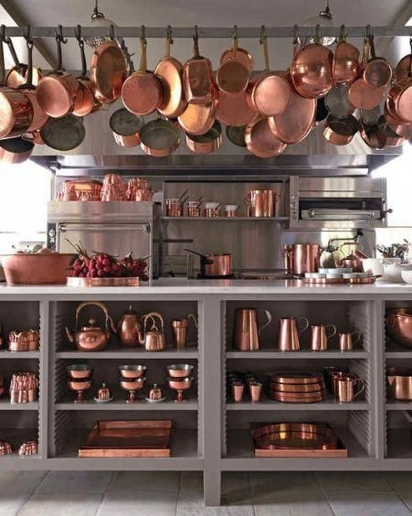 Hottest Copper Rose Gold Kitchen Themes Decorations Ideas 43